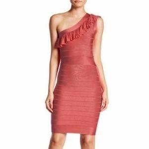 French Connection Pink One Shoulder Bandage Dress